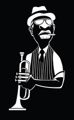 Caricature of a jazz trumpet player © Isaxar