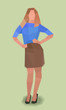 girl, hands on hips, watercolor cubism vector