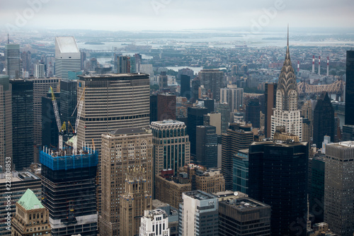 Aerial view of Manhattan skyscraper from Empire state building observation deck