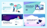 Set of web page design templates for medicine, health insurance, therapy,  online medical services. Modern vector illustration concepts for website and mobile website development.  - 228111846