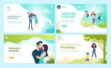 Set of web page design templates for happy family, family vacation, baby care. Modern vector illustration concepts for website and mobile website development.  - 228112024