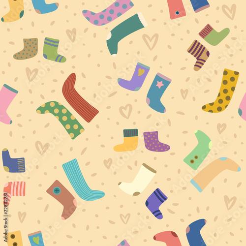 fototapeta na ścianę vector seamless pattern with colorful socks