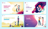 Set of web page design templates for family planning, travel insurance, nature and healthy life. Modern vector illustration concepts for website and mobile website development.  - 228113849