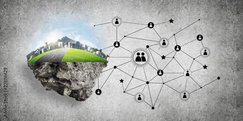 Foto Murales Concept of modern networking technologies and eco green construction