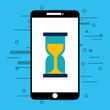 smartphone with hourglass isolated icon