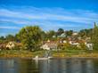 Leinwanddruck Bild - Fähre am Anleger auf der Elbe, Pirna - Lohmen,Elbsandsteingebirge Sachsen