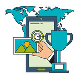 smartphone trophy target world business