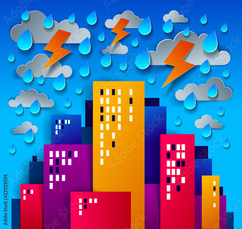 Fridge magnet City houses buildings under thunderstorm and lightning paper cut cartoon kids game style vector illustration, modern minimal design of cute cityscape, urban life, clouds and rain in sky.