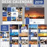 Desk calendar 2019, desktop calendar template, red calendar, Week starts on Monday, Vector Illustration, suitable for company, spiral calendar, blue calendar - 228135490