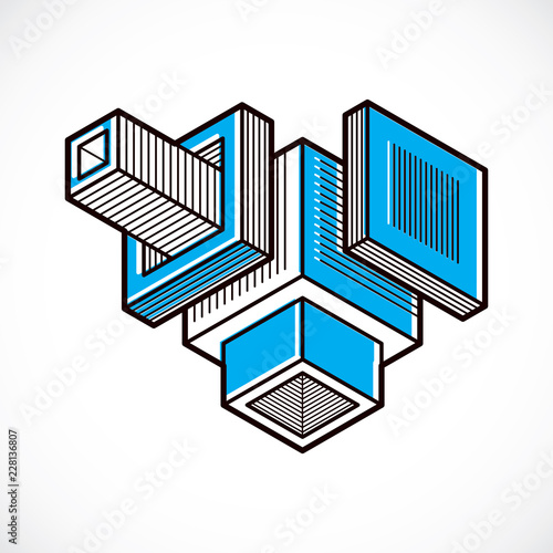 Isometric abstract vector dimensional shape, polygonal figure - 228136807