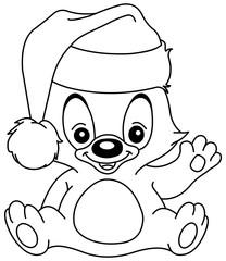outlined christmas waving teddy bear