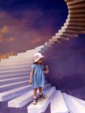Девочка с мороженным в руке стоит на каменной лестнице в небо. - 228138481