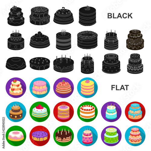 Cake and dessert flat icons in set collection for design. Holiday cake vector symbol stock web illustration. © pandavector