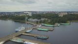 Aerial shot of Petrozavodsk shipyard with boats to Kizhi Island - 228154239