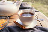 black tea in a cup, a white teapot, brown sugar and cinnamon on a wooden garden table - 228157831