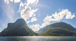 Norwegian fjord panorama. Aurlandsfjord fjord landscape from the water