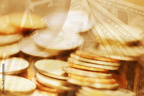 Double exposure Rows of coins of Clock,cash,money, dollar on the table,finance and business concept,Tex time soft focus and blurred style,dark tone.