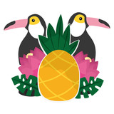 toucan flowers and pineapples tropical summer - 228163062