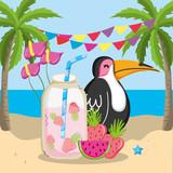 tropical beach scenery theme cartoon - 228165674