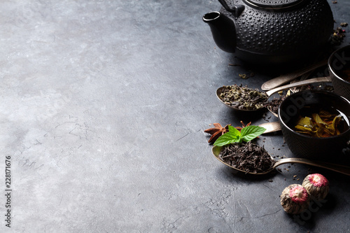 Various tea and teapot. Black, green and red tea - 228171676