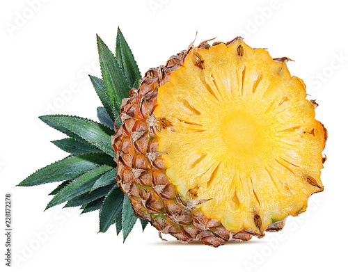 Foto Murales Fresh pineapple isolated on white background