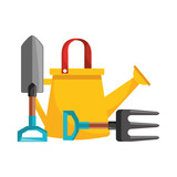 gardening watering can and shovel fork - 228173274