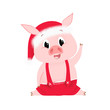 Excited pig in Santa hat waving hoof. Costume, acrobat, split. Symbol of new year concept. Can be used for greeting cards, posters, leaflets and brochure