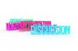 Optimization, Discussion, business conceptual colorful 3D rendered words. Positive, caption, backdrop & cgi.