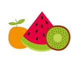 watermelon orange and kiwi fresh nature