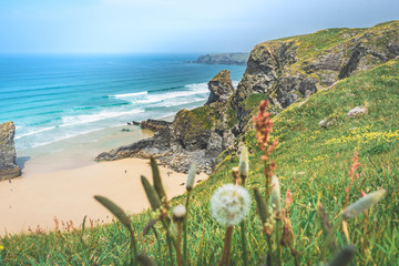 A view of the bedruthan steps coastaline © Seventy4 UK