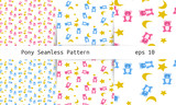 Teddy seamless pattern set