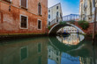 Quadro Venetian buildings by canal in Venice, Italy