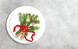 Leinwandbild Motiv Christmas table decoration pine tree branches Holidays menu