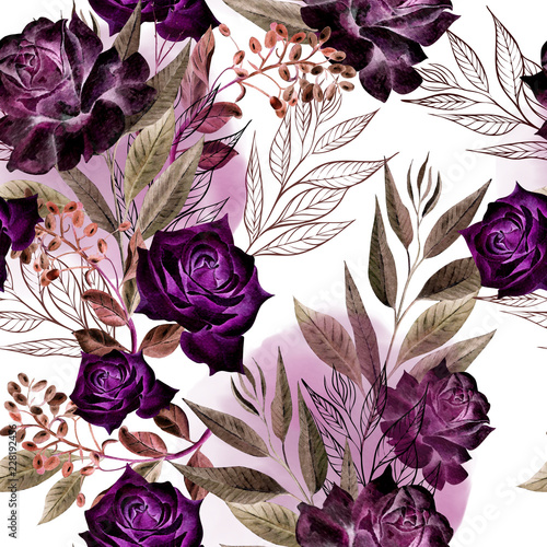 Beautiful watercolor pattern with rose flowers and eucalyptus leaves.  - 228192456
