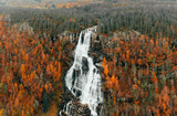 Large waterfall Autumn Norway . high res images