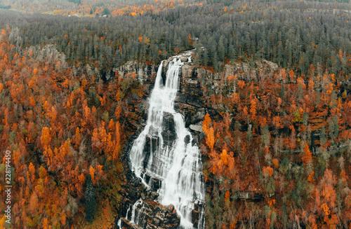 Large waterfall Autumn Norway . high res images - 228194450