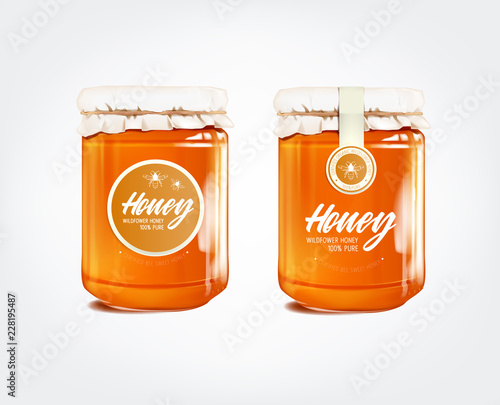 Sticker Honey in glass jar isolated with label.