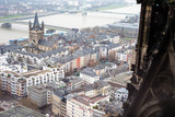 View of the Rhine and the Altstadt from the Cologne Cathedral, Germany. - 228200058