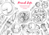 French cuisine top view frame. A set of classic French dishes with bakery, beef bourguignon, escargot, poached eggs, onion soup. Food menu design template. Hand drawn sketch vector illustration. - 228204861