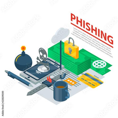 Phishing concept background. Isometric illustration of phishing vector concept background for web design