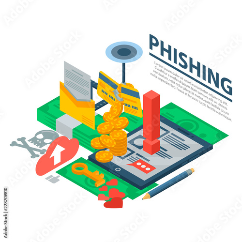 Phishing attack concept background. Isometric illustration of phishing attack vector concept background for web design