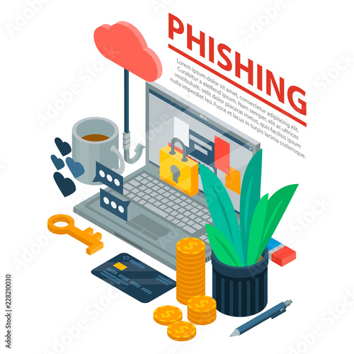 Internet phishing concept background. Isometric illustration of internet phishing vector concept background for web design