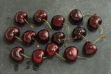 Sweet cherries in flat view süßkirschen in der flacher ansicht