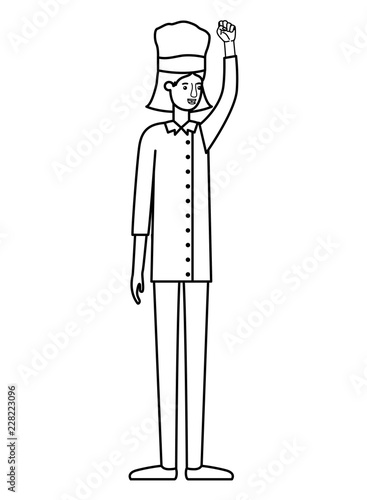 Poster young woman cook with hand up avatar character