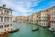 Gondola entering the Grand Canal in Venice Italy