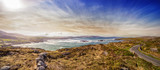 Panoramic view to the bay in Noth Allihies, western tip of the Beara Peninsula. County Cork, Ireland.