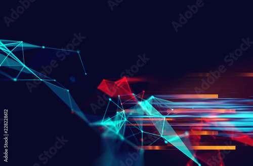 dots and lines connection on abstract technology background.