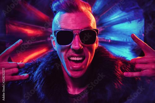 Leinwanddruck Bild cool rock party man