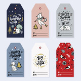 Collection holiday greeting cards in vector. Holiday gift tags. Christmas gift tags with animals