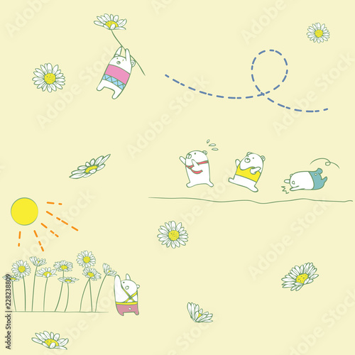 Cute flower and bears pattern - 228238809